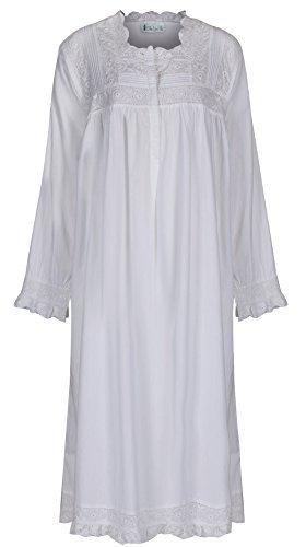 The 1 for U 100% Baumwolle Praire Style Nachthemd mit Taschen - Henrietta - XS - XXXXL - Weiß, Weiß, ()