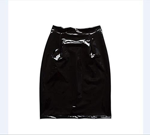 HEHEAB Rock,Frauen Damen Elegante Röcke Cltohing S M L Frauen Pu Leder Mit Hoher Taille Hüfte Knie Länge Gerade Paket Bleistiftrock, S -