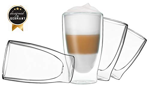DUOS 4X 400ml doppelwandige Gläser Cocktail Thermogläser - Set mit Schwebe-Effekt, auch für Latte Macchiato, Cappuchino, Tee, Eistee, Säfte, Wasser, Cola, Cocktails geeignet, by Feelino ... 4 Gläser