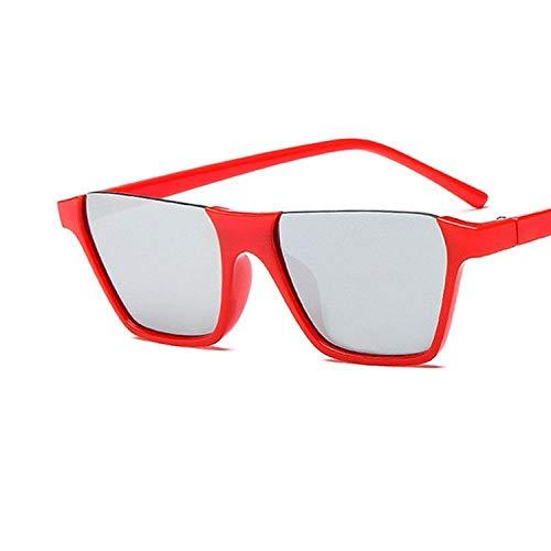 Sonnenbrillen Retro Rechteck Sonnenbrille Damen Kleine Cat Eye Flat Top Sonnenbrille Vintage Half Frame Cat Eye Sonnenbrille UV400-Rot Silber