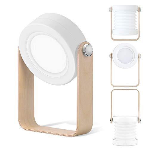 Tischlampe LED Nachttischlampe, SZSMD Nachtlicht Laterne Vintage Touch Dimmbar, Klappbare Tragbare Laternenlicht NachttischLeuchte Campinglampe für Schlafzimmer Wohnzimmer Camping