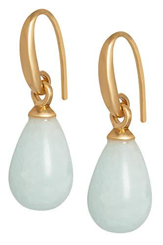 Sence Copenhagen Damen Ohrhänger Gold aus der Essential Earring-Serie mit einem Blauen Aquamarin Tropfen Anhänger Messing vergoldet - A518