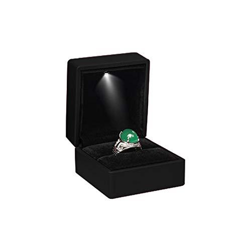 LED-Licht Ringschachtel quadratische Ohrringe Münze Schmuck Geschenk Boxen Fälle mit LED-Licht für Überraschung, Vorschlag, Hochzeit(Schwarz) -