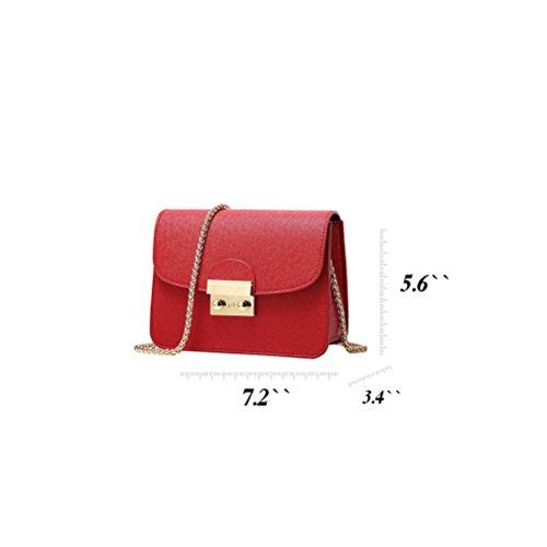 Honyemall Singolo sacchetto di spalla per le donne Crossbody Borsetta PU Impermeabile tracolla lunga / Body Bag Croce Moda con la Catena per Partito / Shopping / Viaggiare nero rosso