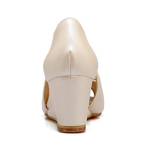 COOLCEPT Damen Sweet Keilabsatz Sandalen Peep Toe Schuhe Mit Bogen Slip On Beige uWxDSm