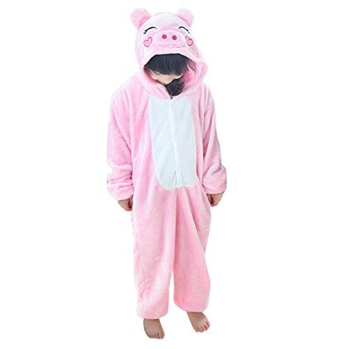 Imagen de happy cherry  pijama ropa de dormir disfraz de animal cerdo de franela para niños niñas  rosa  talla 105