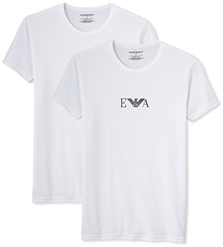 Emporio Armani Stretch BI-Pack Crew Neck T-shirt, Black/White