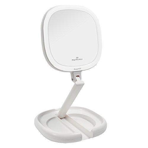 Auxmir Klappbarer Kosmetikspiegel Reisespiegel LED Beleuchtet mit Licht und 1X/ 7X Vergrößerung, Schminkspiegel Make-Up Spiegel mit Blendfreie Beleuchtung für Zuhause und Unterwegs