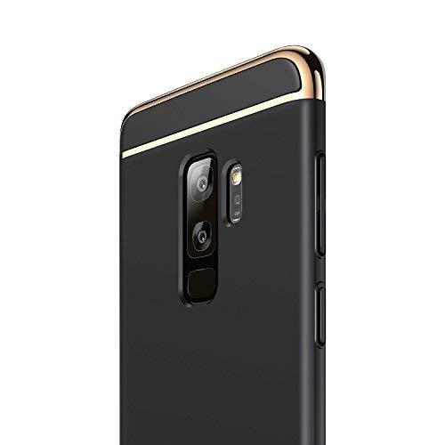 RANVOO Kompatibel mit Samsung Galaxy S9 Plus Hülle, 3-Teilig Stylish Edel Dünn Schick Bumper Hardcase Cover Schale Schutz Handyhülle, Schwarz und Gold (6,2 Zoll)