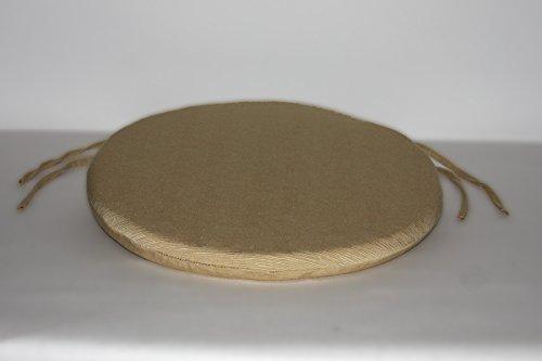 Arketicom (set 4 pz) cuscini sedie cucina rotondi sfoderabili con alette lacci laccetti cotone poliestere copri sedia tondo (cuscino casa giardino) personalizzabili cm 40x40 spessore 3 cm tessuto policotone quadrettato canapa