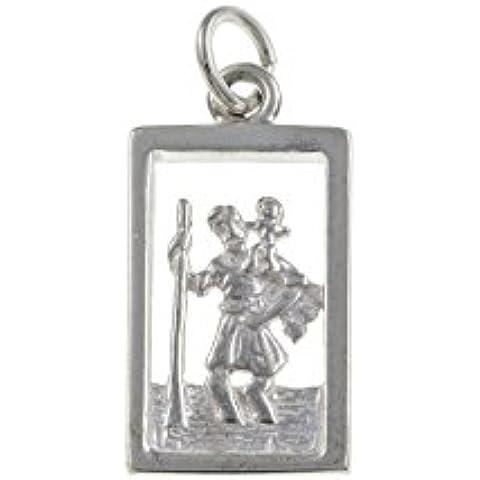 Rettangolare in argento Sterling, Ciondolo St