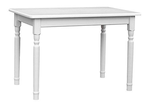 koma Esstisch Küchentisch 100x60cm Tisch MASSIV Kiefer Holz weiß Honig Landhausstil (WEIß)