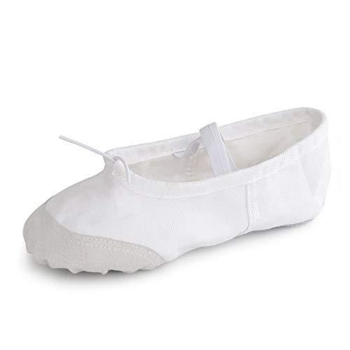Soudittur Zapatillas de Ballet Suela Partida de Cuero Calzado de Danza para Niña y Mujer Adultos Blancas Tallas 32