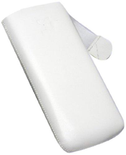 Original Suncase® Tasche für / Samsung Wave S8500 / Leder Etui Handytasche Ledertasche Schutzhülle Case Hülle (mit Zieh-Lasche) in weiss