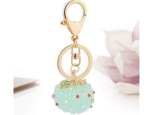 DOOUYTERT Niedliches Schlüsselring-Geschenk Harz Kürbis Form Keychain Charms Tasche Geldbörse Telefon Anhänger für Frauen Mädchen (grün)
