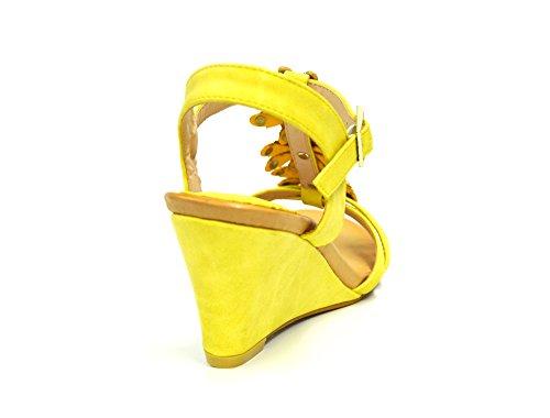 SHT27 * Sandales Nu-Pieds à Talon Compensé avec Multi-Brides Ornées de 3 Fleurs Strass - Mode Femme Jaune