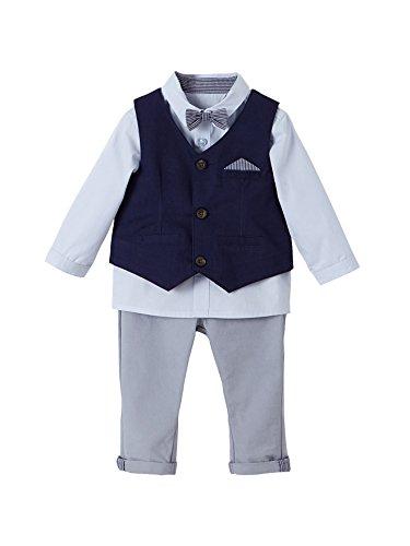 Vertbaudet Baby Jungen, festliches Anzug-Set, 4 Teile Tinte/grau/hellblau 92