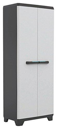 Armario alto de doble puerta con compartimiento escobero y 3estantes, 68x 39x...