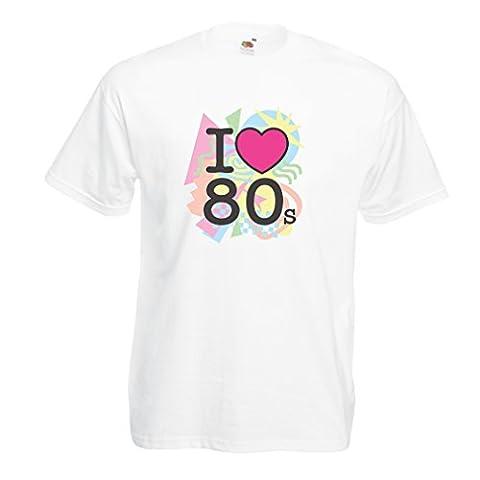 T-shirt pour hommes J'aime 80s T-shirts, cadeaux rock t shirts (Large Blanc Multicolore)