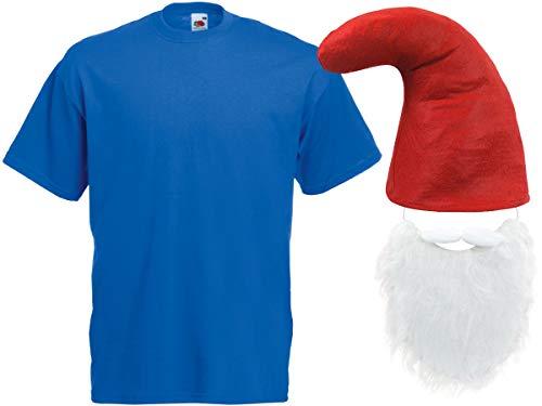 Alsino Blaue Zwergenkostüm Verkleidung (Kv-139) mit T-Shirt, roter Zwergenmütze und Bart, Größe:XL