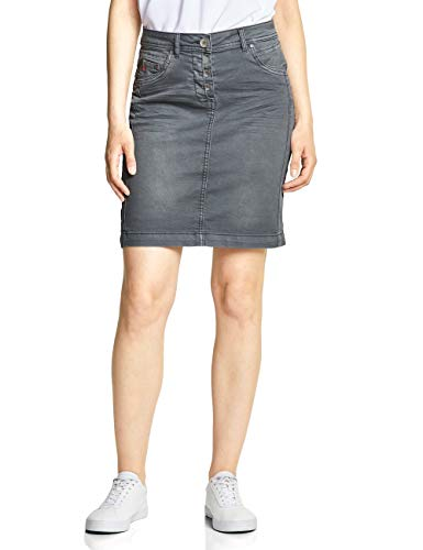 Cecil Damen 360367 Jenna Rock, Graphite Light Grey, XX-Large (Herstellergröße:36) - Damen Crinkle-röcke-a-linie Rock