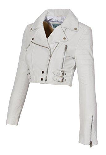 (A1 FASHION GOODS Weiß Echtes Leder Damen Bikerjacke Kurz Beschnitten Ausgestattet Sexy Bolero Bustier Mantel - Amanda (XS - EU 34))