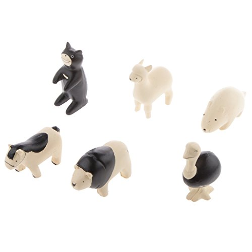 Bär Sammlung (MagiDeal 6x Waldtier Tierfiguren Harz - Biber+Pferd+Löwe+Strauß+Alpaka+schwarzer Bär kinder Sammlung)