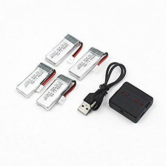 4pcs 3.7V 550mAh LiPo Battery and Charger for JXD 523 523W Quadcopter from rc