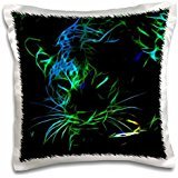 Simone Gatterwe Photo Animal - A leopard in blue-green neon fractal lines on a black background - 16x16 inch Pillow Case (Green Leopard Neon)
