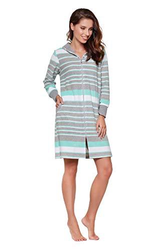 DOROTA kuscheliger und moderner Baumwoll-Bademantel mit Reißverschluss & Kapuze (XL (42), Mint-gestreift) (Damen Bademäntel Reißverschluss)