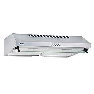 NEG Dunstabzugshaube NEG15-ATS (silber) Edelstahl-Unterbau-Haube (Abluft/Umluft) und LED-Beleuchtung (60cm) Unterschrank- oder Wandanschluss
