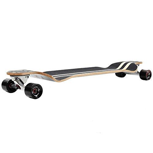 FunTomia® Longboard Skateboard Board Skaten Cruiser Komplettboard mit ABEC-11 High Speed Kugellager T-Tool (Modell Drop Down - Farbe Geier + T-Tool) -