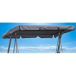 QUICK STAR Ersatzdach 200x145cm Gartenschaukel Universal Hollywoodschaukel 3 Sitzer Grau UV 50 Ersatz Bezug Sonnendach…