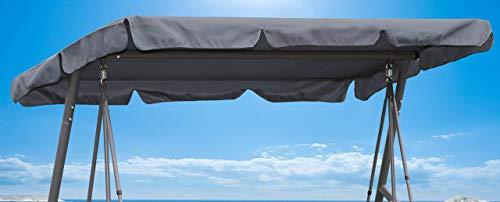 QUICK STAR Ersatzdach 200x145cm Gartenschaukel Universal Hollywoodschaukel 3 Sitzer Grau UV 50 Ersatz Bezug Sonnendach Schaukel Dach