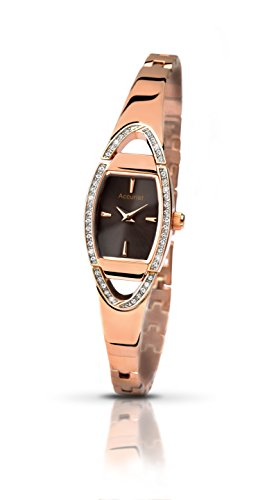 Accurist Women's Quartz Watch with Brown Dial Analogue Display and Rose Gold LB1457