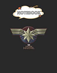 """Notebook: Marvel Captain Marvel Movie Chest Symbol Blank Comic Notebook for Kids Marble Size Blank Journal Composition Blank Pages Rule College Rule ... of 8.5""""x11"""" for Drawing Sketching Doodling"""