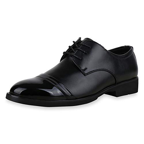 SCARPE VITA Herren Business Schuhe Klassische Schnürer Lack Halbschuhe 172153 Schwarz 43