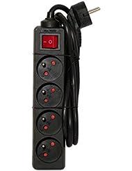 Chacon–Regleta con interruptor (4enchufes 16A 3m negro