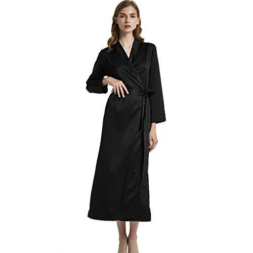 HiSexy Seidiger Langer Kimono für Damen, Brautkleid, Nachtwäsche, Loungewear Einteiler Schlafanzug Nachtwäsche - Schwarz - Medium -