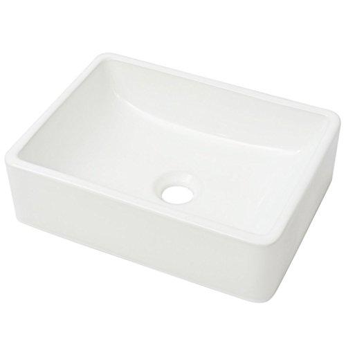 Festnight Waschbecken Keramik Handwaschbecken Waschschale Keramikwaschbecken 41 x 30 x 12 cm Weiß