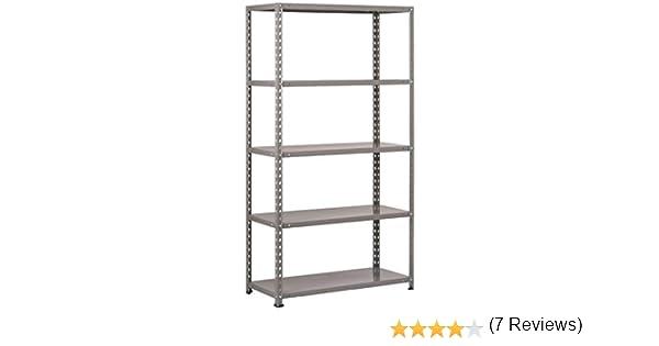 Scaffale 5 ripiani piani acciaio metallo rinforzo centrale 100x40x200 h grigio