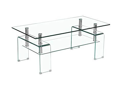 Table Basse Verre Transparent Solide et métal chromé - Double Plateau - Design Moderne - Glow - Ice