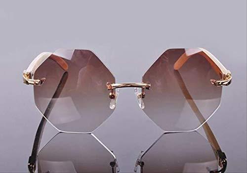 LKVNHP Fashion Stilvolle Rimelss Custome Oversize Achteckige Linse Sonnenbrille Natur Weiß Sun Glass Männer3 Tage Custome Gold