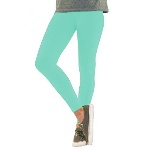 Bunte Mädchen Leggings lang aus Baumwolle Kinder Leggins in verschiedenen Farben und Muster, Farbe: Mint, Größe: 128-134