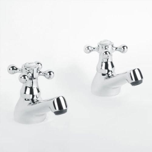 Par 2Pcs caliente y fría grifos lavabo de baño tradicional de baja presión grifo