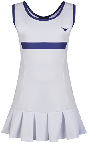Girls White and Blue Pleated Tennis Dress Junior Netball Dress/Sportswear (12-13 Years)