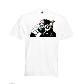 Banksy Monkey with Headphones Mens T-Shirt/Colorful Chimp Head Listening to Music Earphones/Street Art Graffiti Shirt White