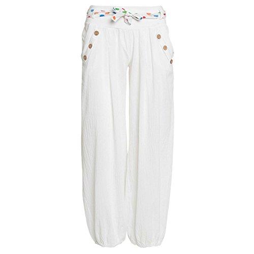 Madonna Damen Haremshose Sommer Pumphose in Unifarben | leichte Stoffhose | super Freizeithose für den Strand, weiss, S/36