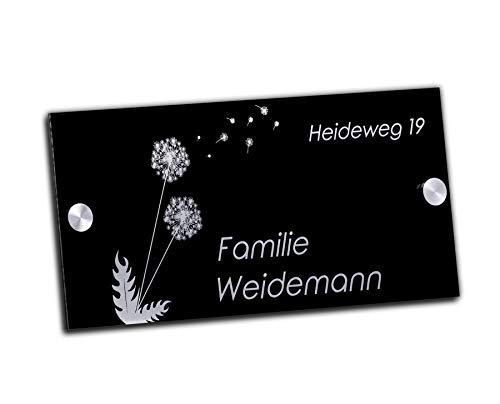 Edles Namensschild | Türschild mit Gravur mit über 80 Motiven Familien-Haus Namensschild Familienschild Türschilder für die Haustür mit Namen