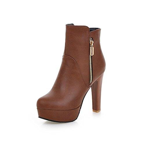 ZQ@QX In autunno e in inverno, testa rotonda bold e elegante grande numero della sig.ra zipper stivaletti stivali femmina brown